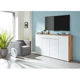 Meuble buffet moderne bois et blanc façade en verre 180 cm