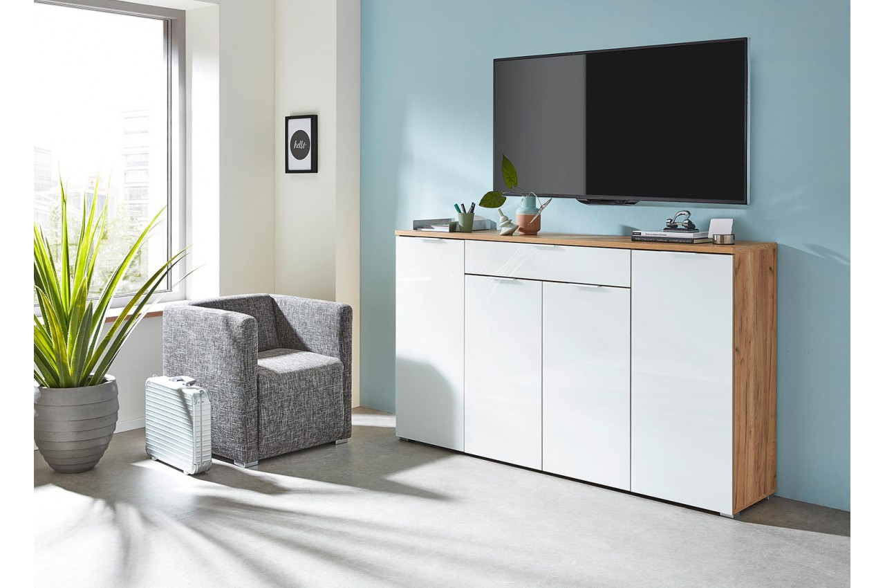 meuble buffet moderne bois et blanc fa ade en verre 180 cm. Black Bedroom Furniture Sets. Home Design Ideas