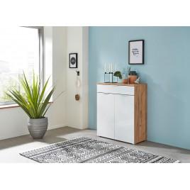 Meuble rangement commode bois et blanc façade en verre