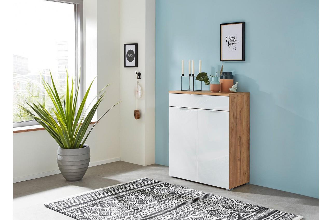 meuble rangement commode bois et blanc fa ade en verre cbc meubles. Black Bedroom Furniture Sets. Home Design Ideas
