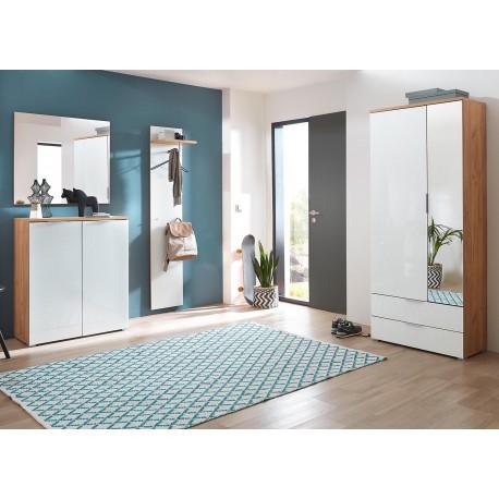 meuble d 39 entr e rangement chaussures bois et verre blanc. Black Bedroom Furniture Sets. Home Design Ideas