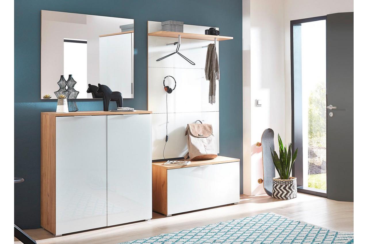 meuble entr e couloir bois et verre blanc cbc meubles. Black Bedroom Furniture Sets. Home Design Ideas