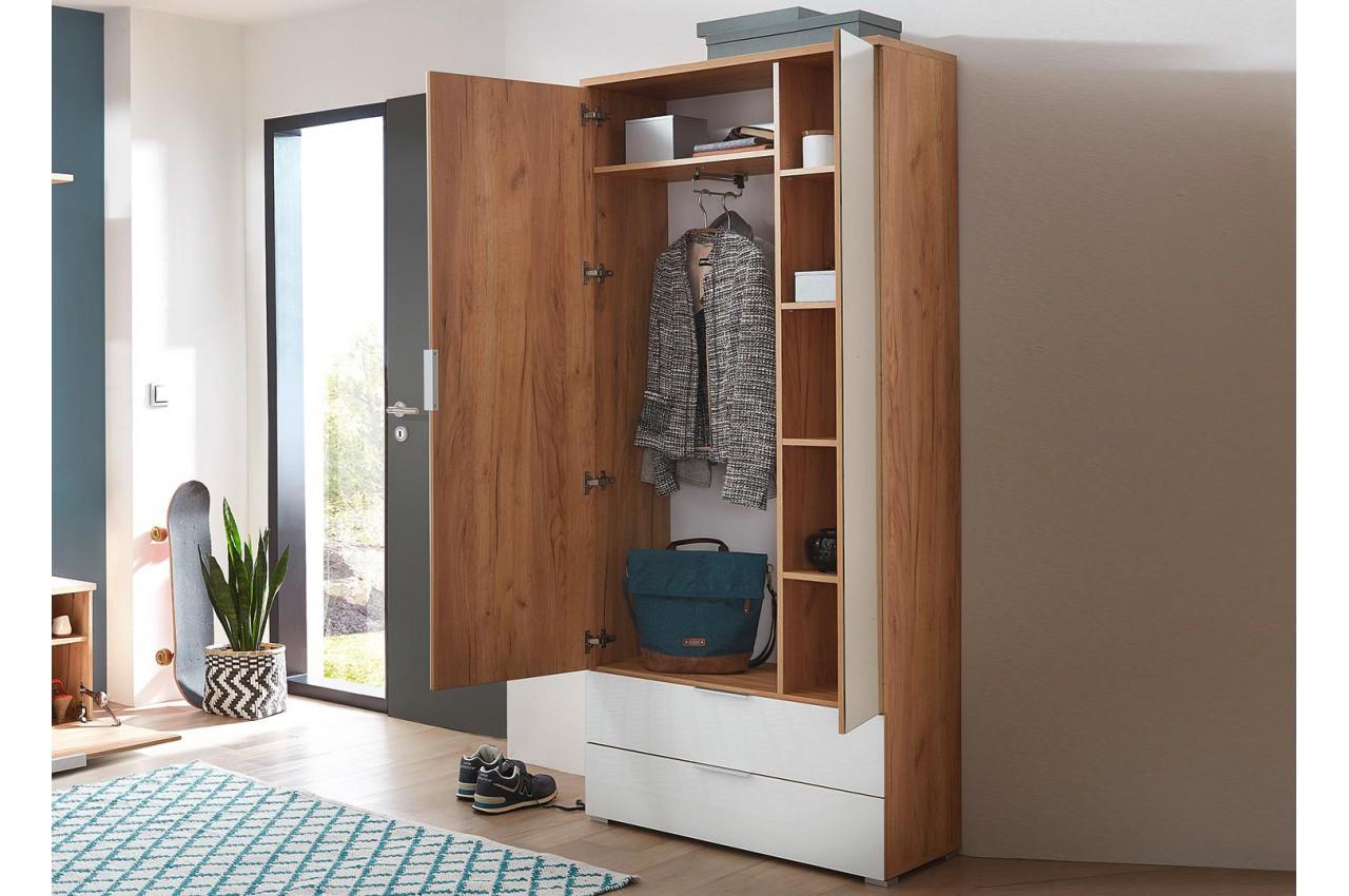 armoire rangement entr e bois et verre blanc avec miroir cbc meubles. Black Bedroom Furniture Sets. Home Design Ideas