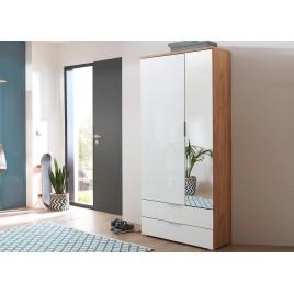 Armoire rangement entrée bois et verre blanc avec miroir