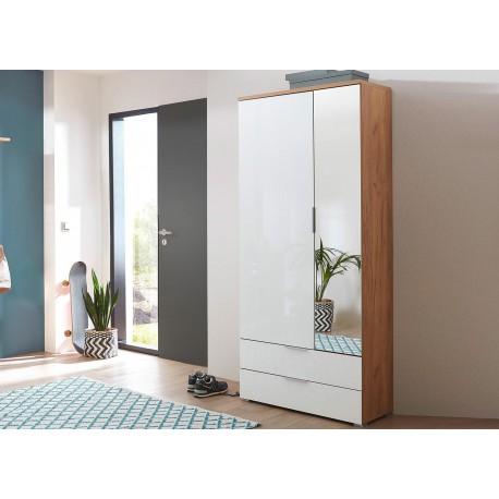 Armoire rangement entr e bois et verre blanc avec miroir cbc meubles - Meuble de rangement entree ...