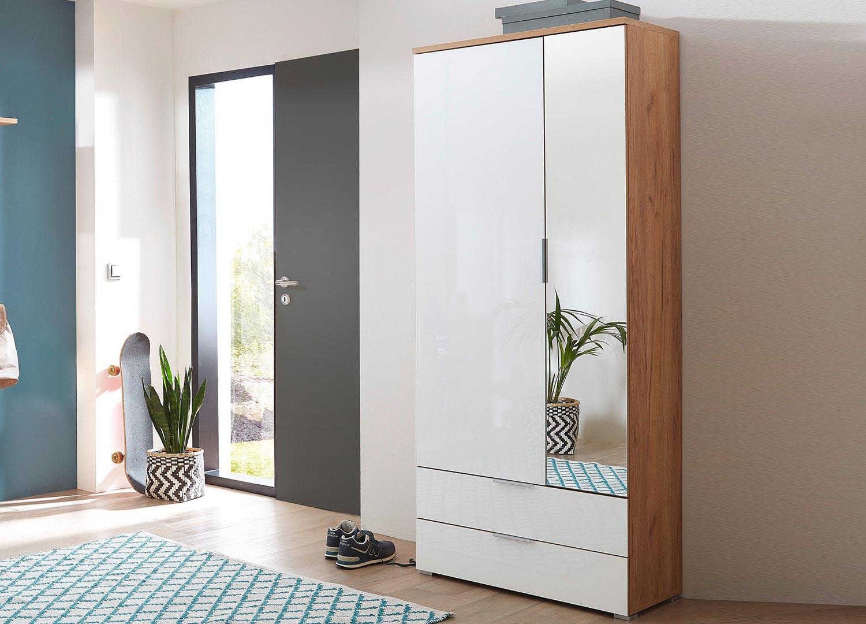 Hall D Entrée Moderne armoire rangement entrée bois et verre blanc avec miroir