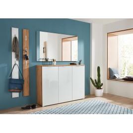 Meuble d'entrée complet pour couloir bois et verre blanc
