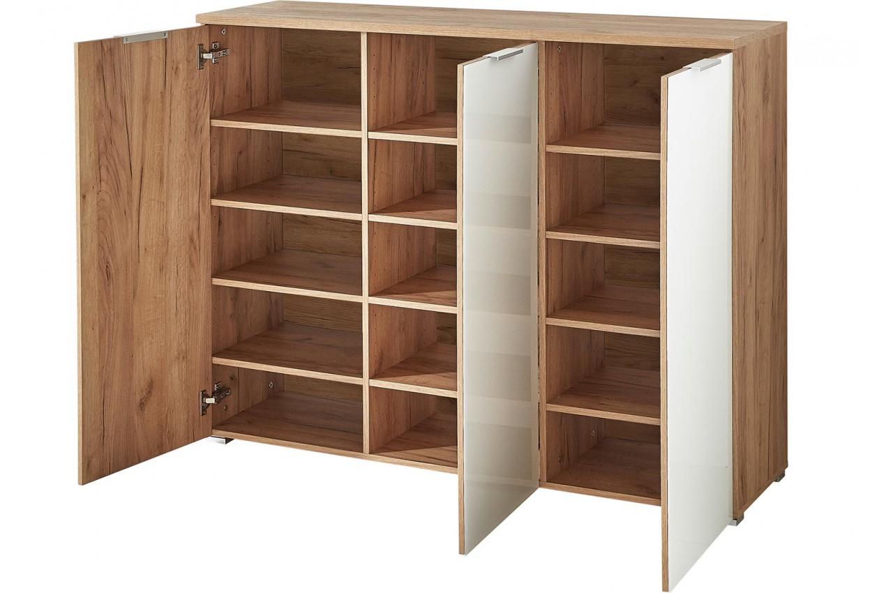 meuble chaussures bois et verre blanc 30 paires cbc meubles. Black Bedroom Furniture Sets. Home Design Ideas