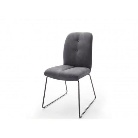Chaise capitonnée grise cuir synthétique avec piétement métal