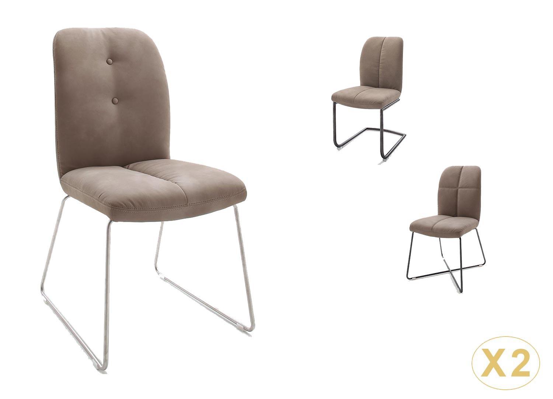 Chaise rembourrée marron cuir synthétique avec piétement métal