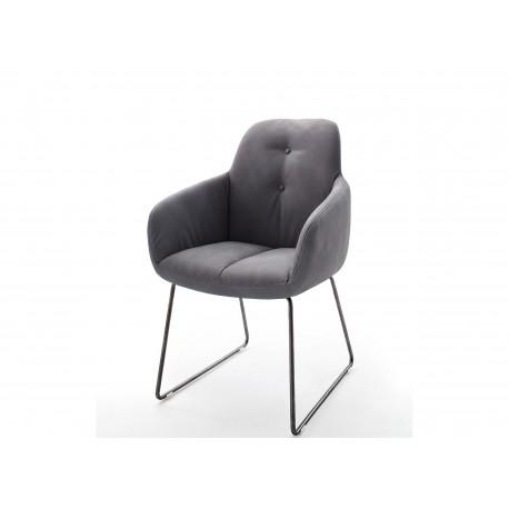 Chaise avec accoudoir grise et pieds métal