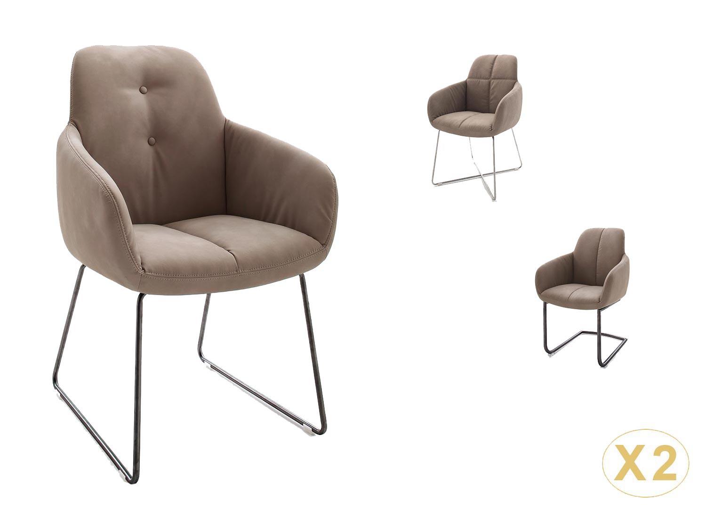 Chaise avec accoudoir marron et pieds métal