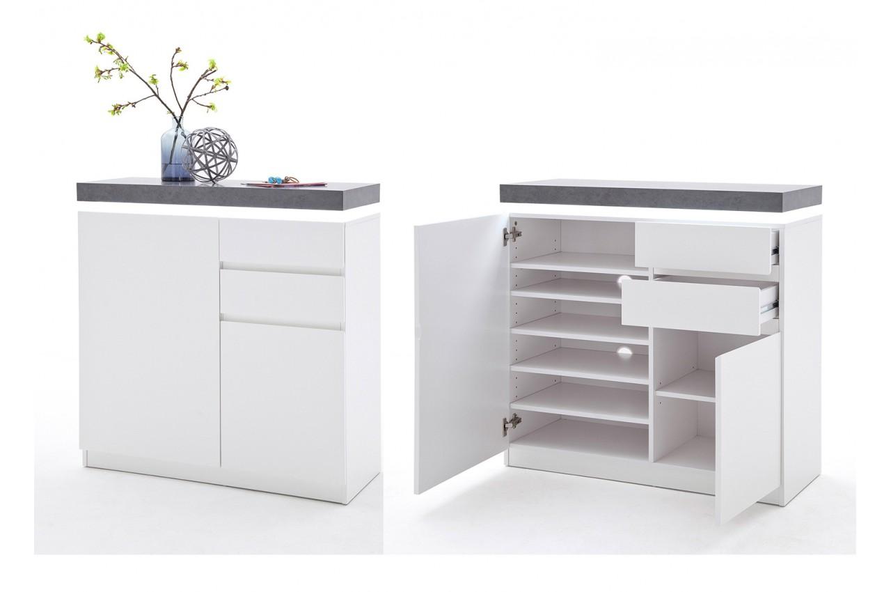 Meuble Rangement Chaussures Entree meuble rangement entrée blanc et gris - cbc-meubles