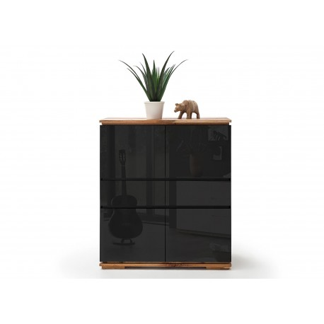 bahut haut noir laqu et ch ne massif 4 portes et 2 tiroirs cbc meubles. Black Bedroom Furniture Sets. Home Design Ideas