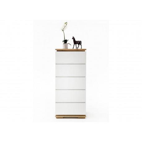 Meuble rangement blanc laqué mat et bois massif 5 tiroirs
