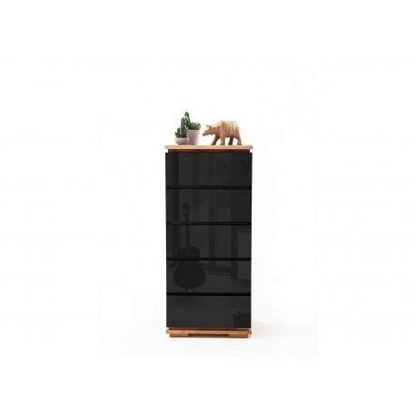 Meuble rangement laqué noir brillant et bois massif 5 tiroirs
