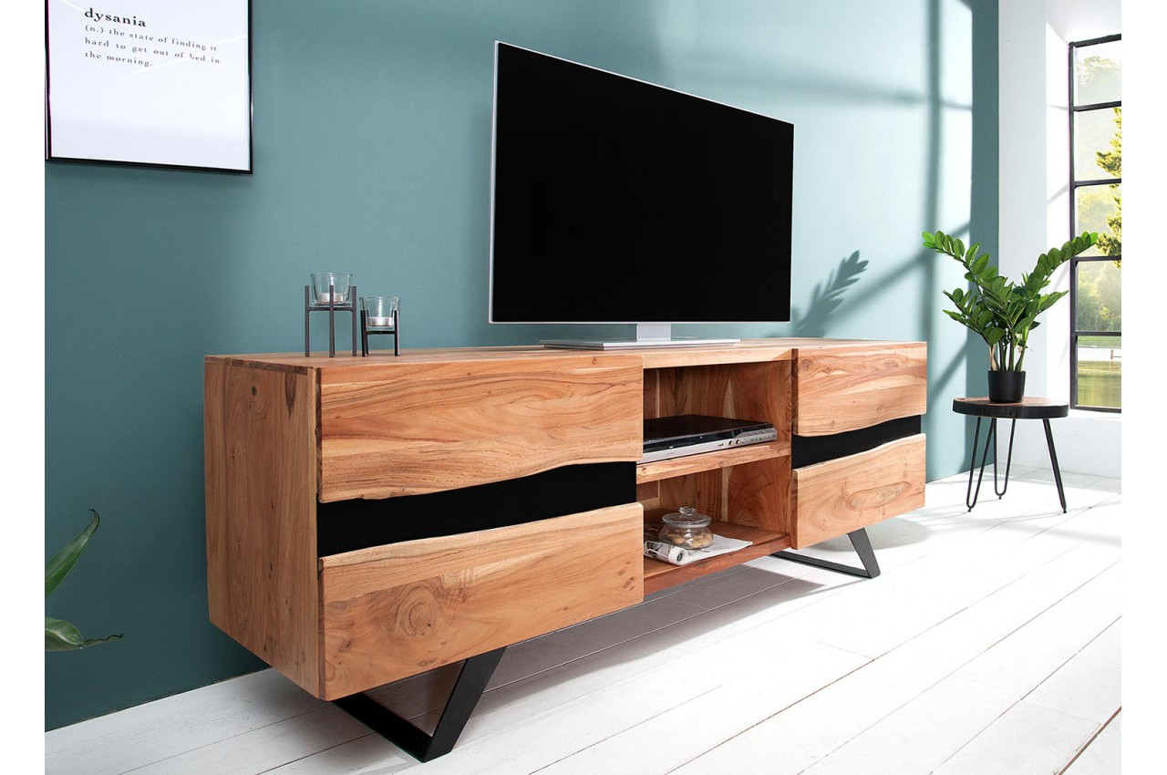 meuble tv acacia massif et m tal 160 cm cbc meubles. Black Bedroom Furniture Sets. Home Design Ideas