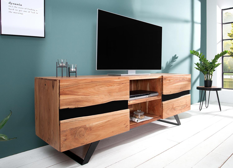 Meuble TV acacia massif et métal 160 cm