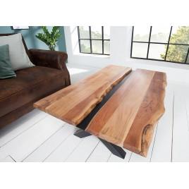 Table basse acacia massif et décor noir métal