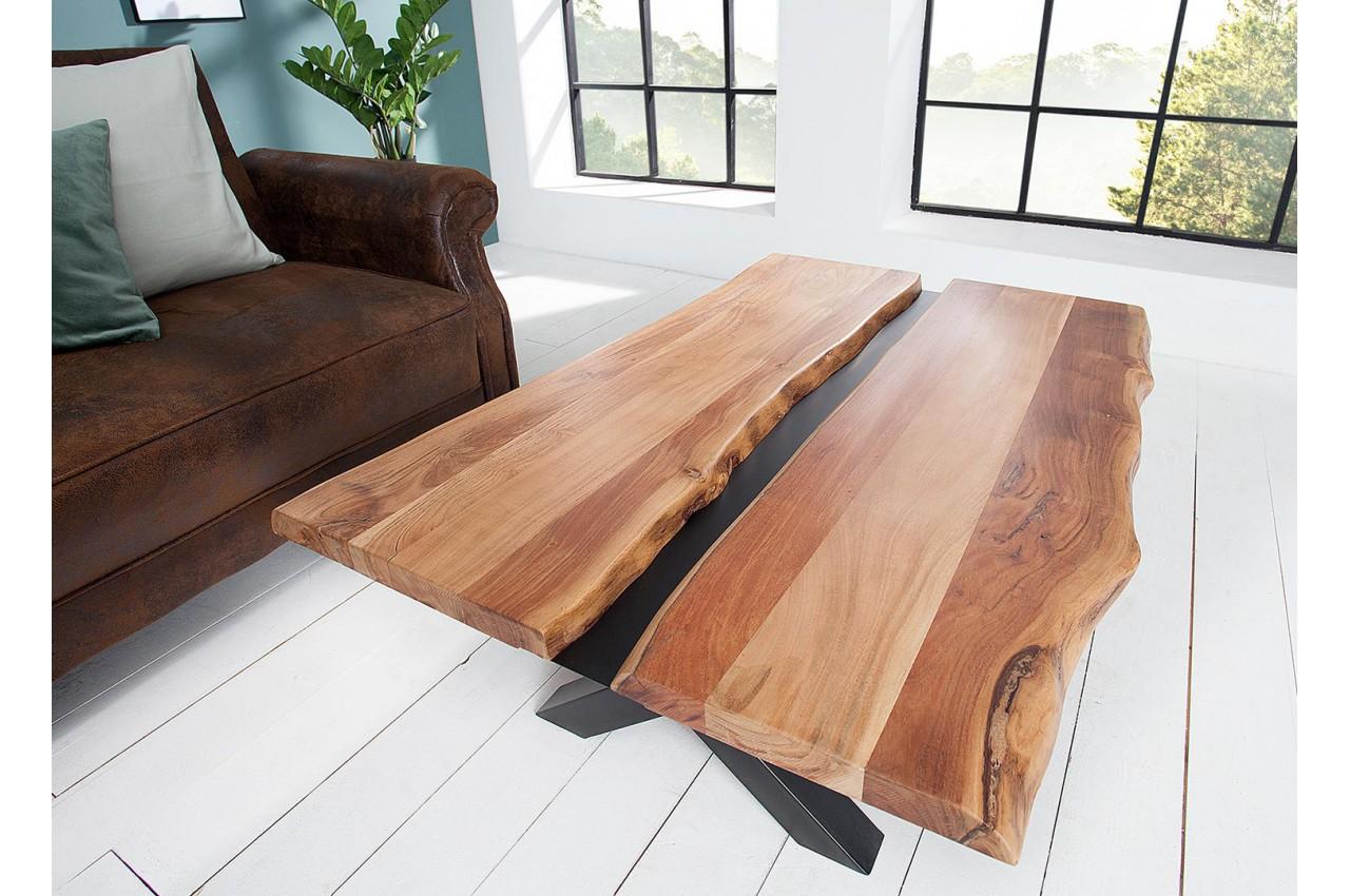 Table Basse Acacia Massif Et Decor Noir Metal Cbc Meubles