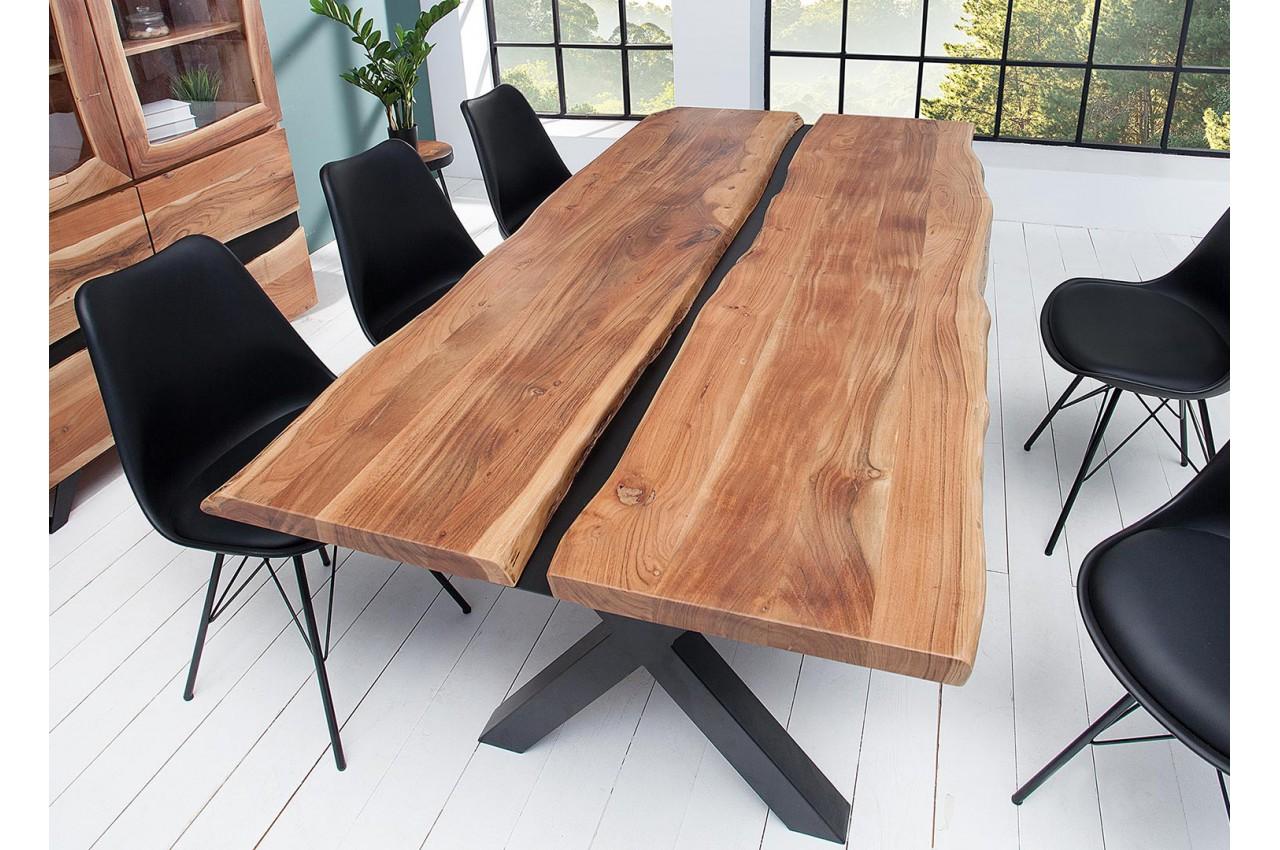 table manger bois massif et d cor noir m tal cbc meubles. Black Bedroom Furniture Sets. Home Design Ideas