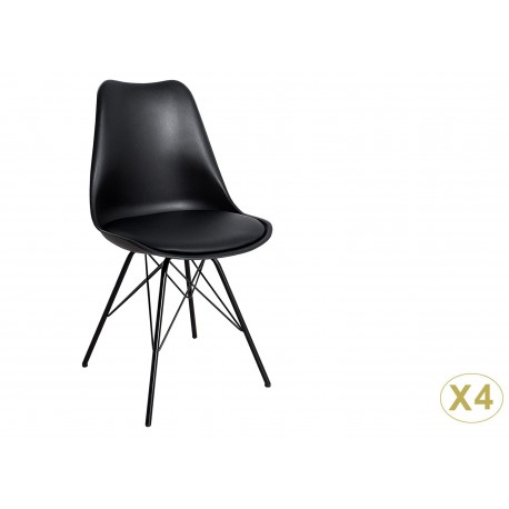 Chaises style rétro coque noire et pieds métal noir