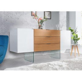 Buffet design blanc et chêne avec pieds en verre