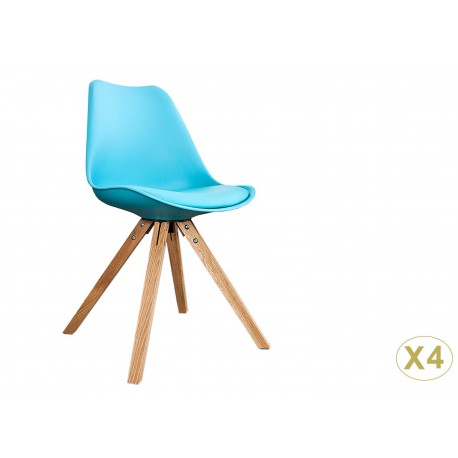 Chaises coque scandinave turquoise pas cher