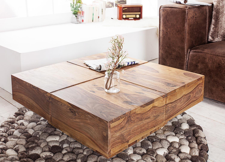 Table basse carrée bois massif sesham 80 cm
