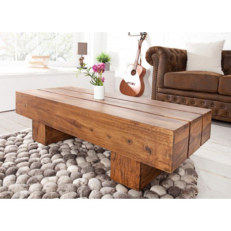 Table basse rectangulaire bois massif sesham 1 m