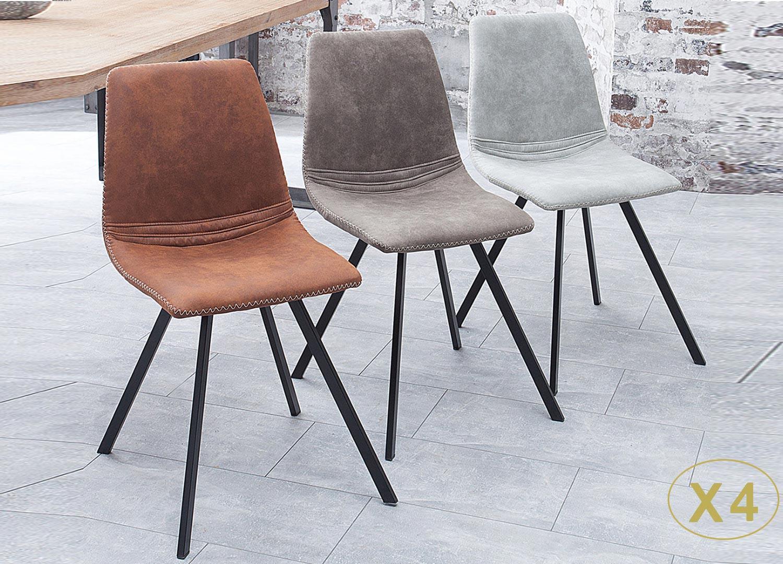 Chaise vintage microfibre et pieds métal noir