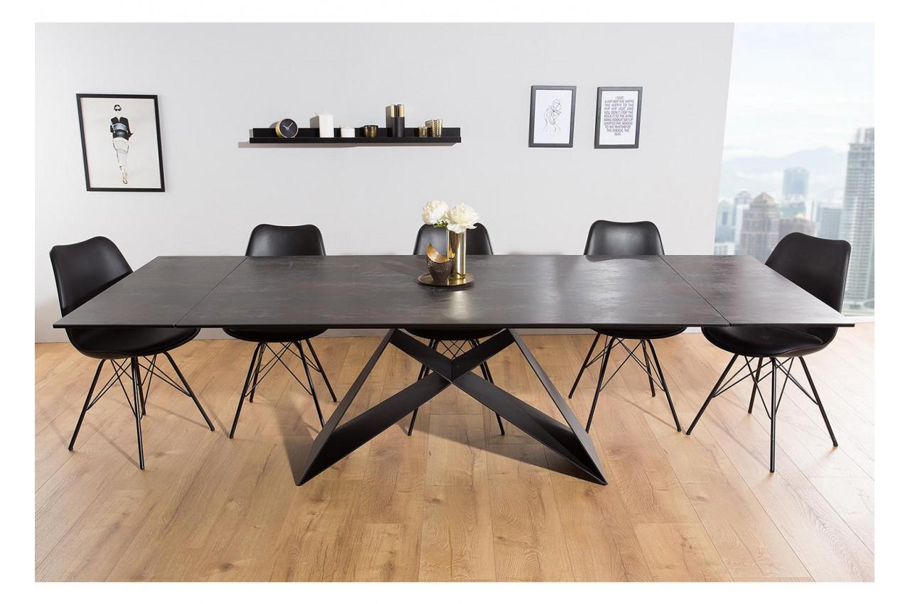 Table à Manger En Céramique Lave 180 260 Cm Et Pieds Métal