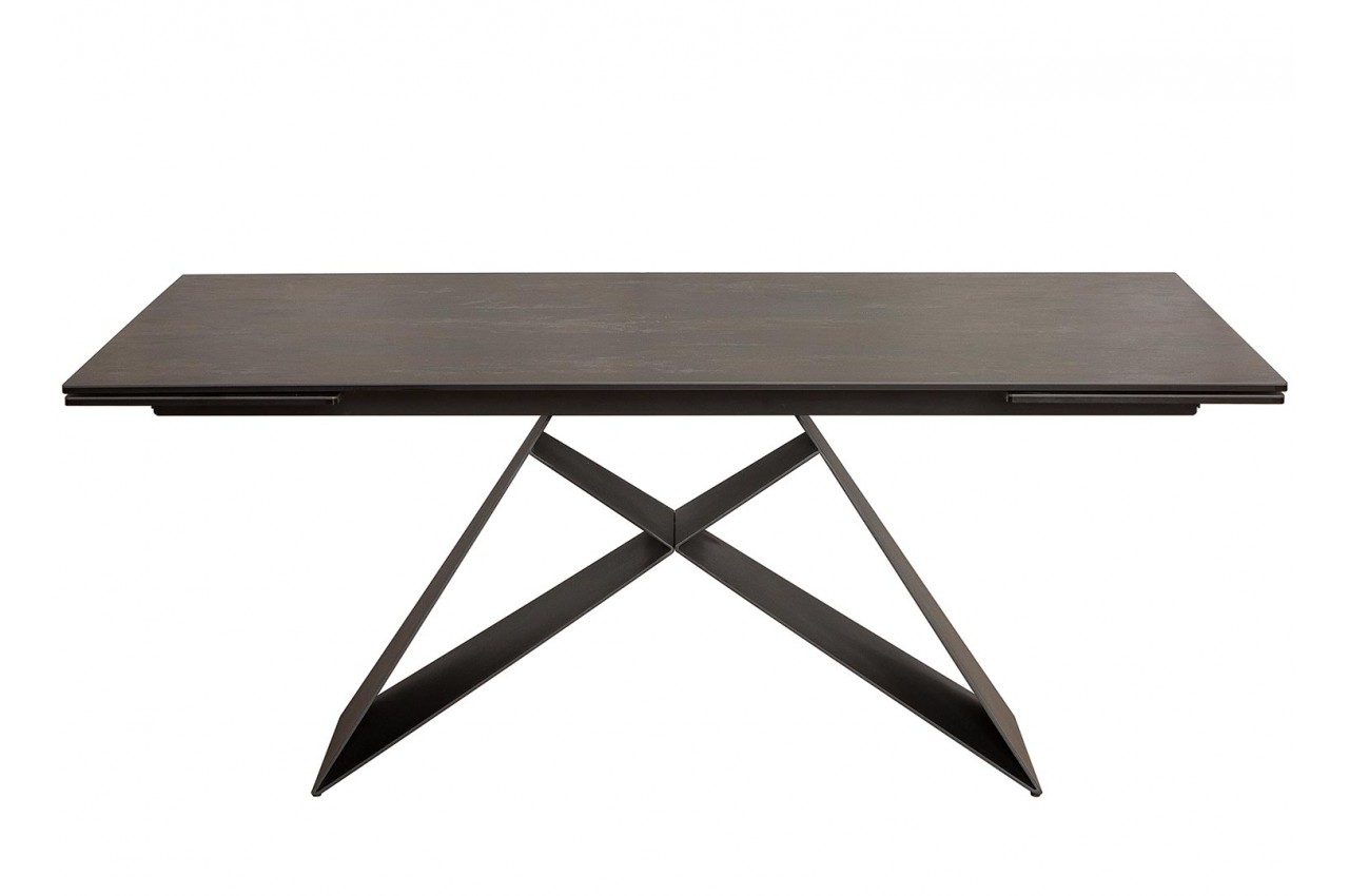 table manger en c ramique lave 180 260 cm et pieds m tal. Black Bedroom Furniture Sets. Home Design Ideas