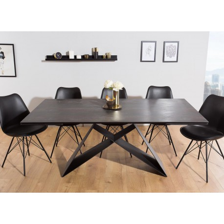Table à manger en céramique lave 180-260 cm et pieds métal noir