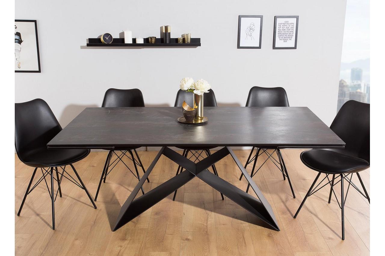 table manger en c ramique lave 180 260 cm et pieds m tal. Black Bedroom Furniture Sets. Home Design Ideas