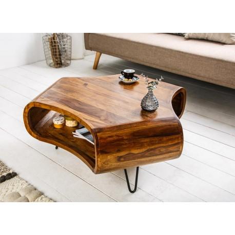Table basse en bois sesham et pied épingle