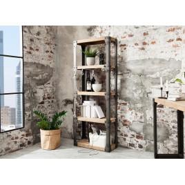 Bibliothèque industrielle bois massif acacia et métal