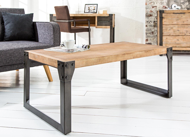 Table basse bois massif acacia et métal