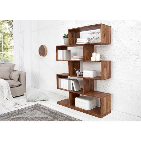 Bibliothèque en bois massif palissandre 5 compartiments
