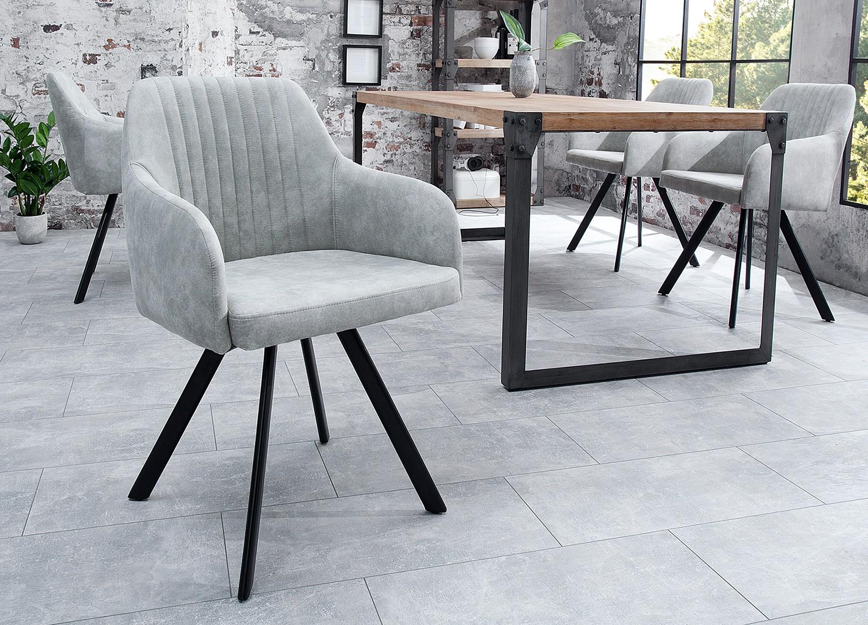 Chaise vintage gris pierre avec accoudoirs et pieds métal noir