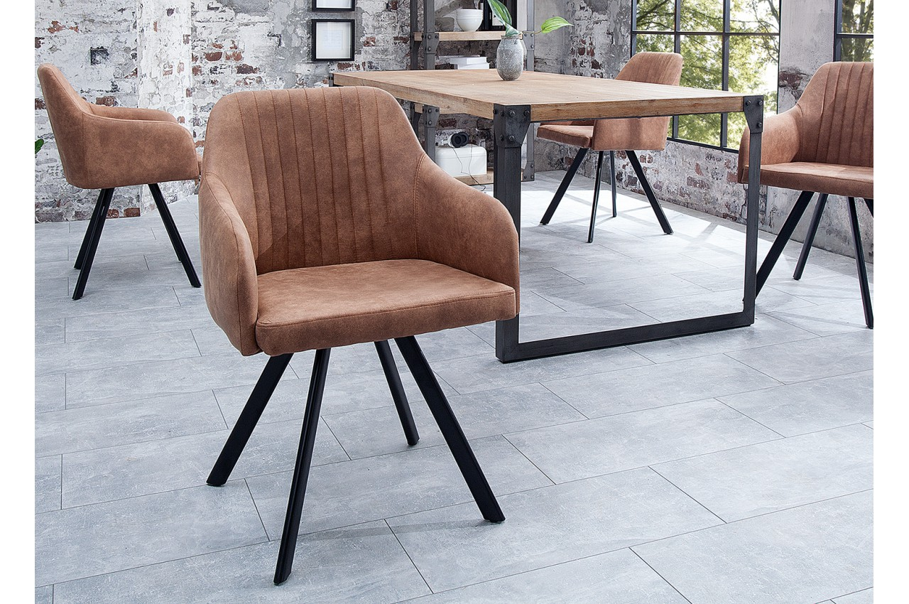 chaise vintage marron avec accoudoirs et pieds m tal noir. Black Bedroom Furniture Sets. Home Design Ideas
