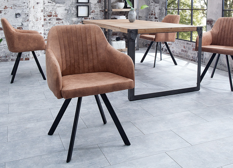 Chaise vintage marron avec accoudoirs et pieds métal noir