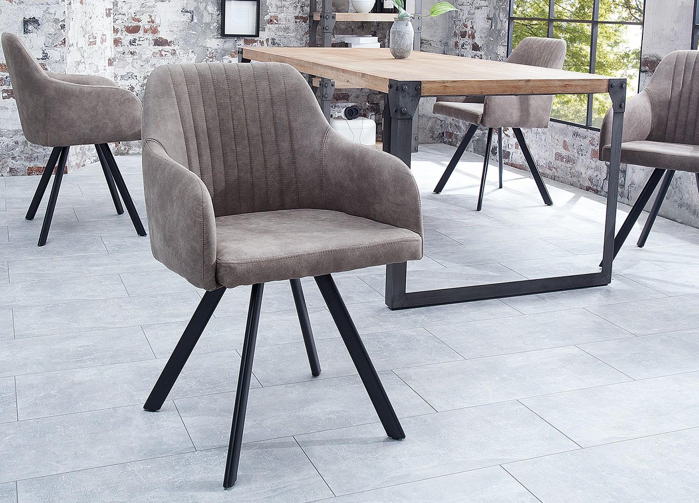 Chaise vintage gris taupe avec accoudoirs et pieds métal noir