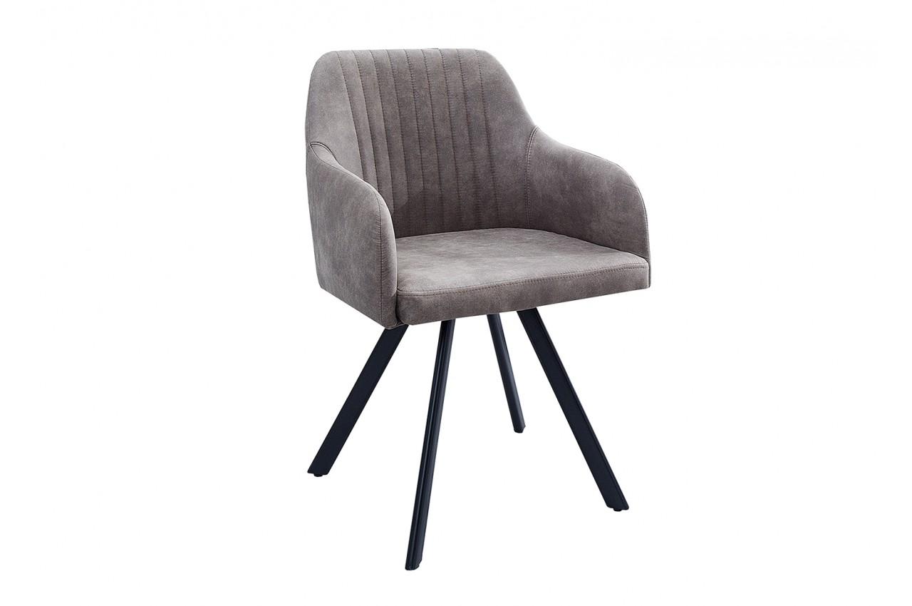 chaise vintage gris taupe avec accoudoirs et pieds m tal. Black Bedroom Furniture Sets. Home Design Ideas