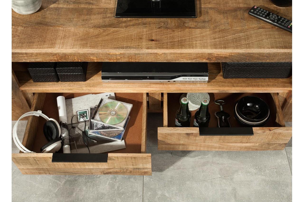 Meuble tv bois massif moderne 130 cm cbc meubles - Meuble tv bois moderne ...