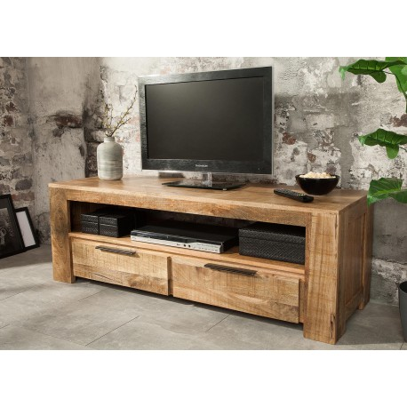 meuble tv bois massif moderne 130 cm cbc meubles. Black Bedroom Furniture Sets. Home Design Ideas