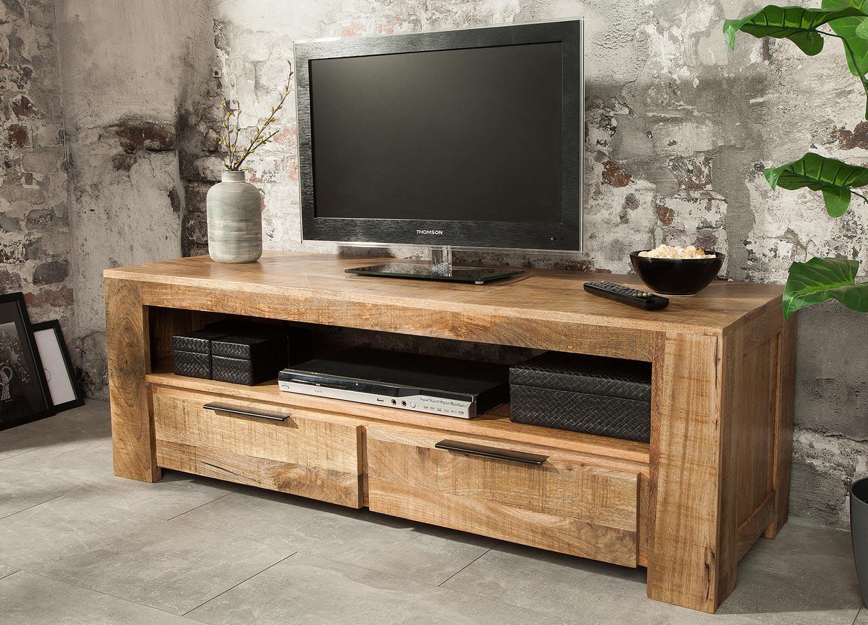 Meuble tv bois massif moderne 130 cm