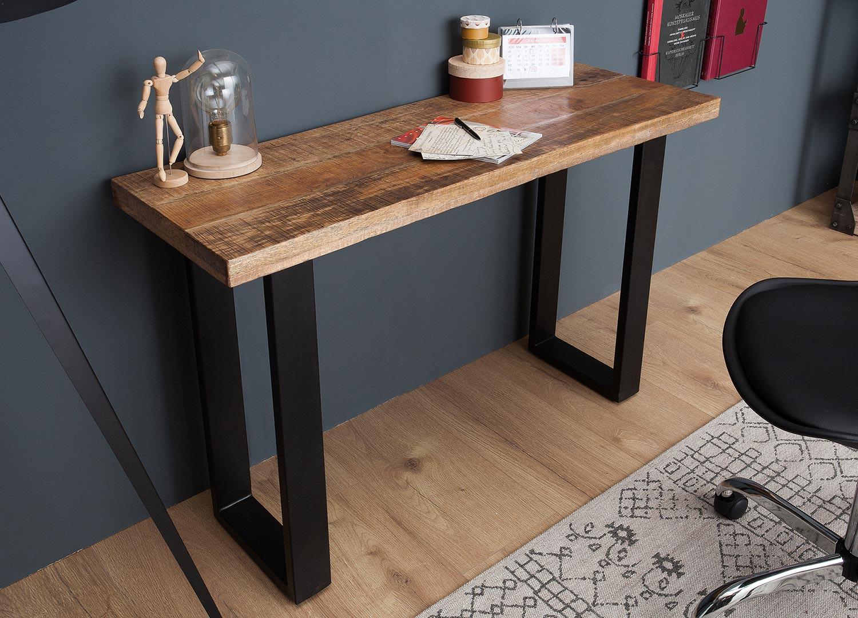 Table console design bois massif 115 cm
