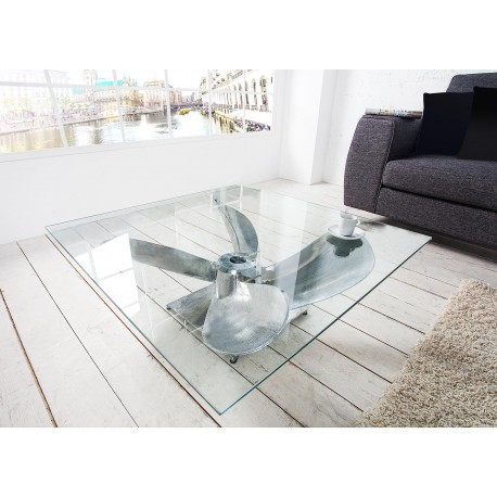 Table basse carrée verre et argent