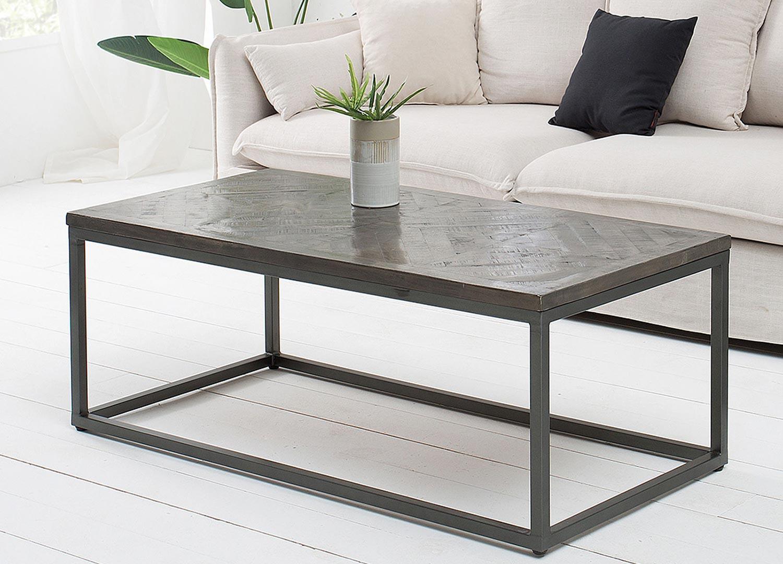 Table basse rectangulaire plateau bois massif teinté gris 120 cm